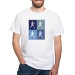 Mens Tennis (blue boxes) White T-Shirt