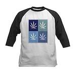 Marijuana (blue boxes) Kids Baseball Jersey