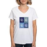 Marijuana (blue boxes) Women's V-Neck T-Shirt