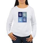 Marijuana (blue boxes) Women's Long Sleeve T-Shirt