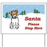 Jack Russel - Snow - Santa Yard Sign