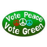 Vote Peace Vote Green Oval Decal
