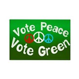 Vote Peace Vote Green Rectangle Magnet