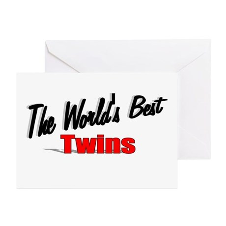 """The World's Best Twins"" Greeting Cards (Pk of 20)"