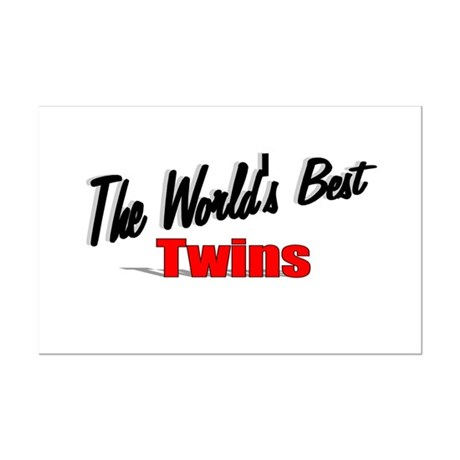 """The World's Best Twins"" Mini Poster Print"