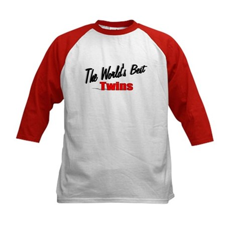 """The World's Best Twins"" Kids Baseball Jersey"