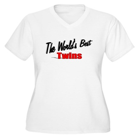 """The World's Best Twins"" Women's Plus Size V-Neck"