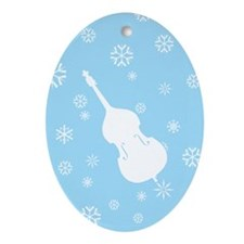 Double Bass Snowflakes - Ornament (Blue Oval)
