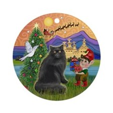 Xmas Fantasy & Black Persian cat Ornament (Round)
