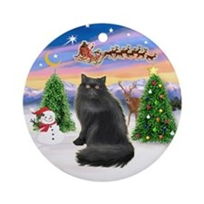 Take Off (C) & Black Persian cat Ornament (Round)