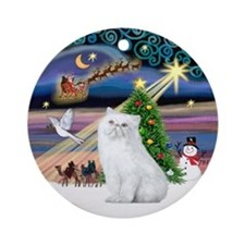 Xmas Magic & White Persian 2 Ornament (Round)