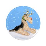 "Airedale Christmas Dale Deer 3.5"" Button"