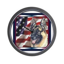 German Shepherd Dog Patriotic USA Flag Wall Clock