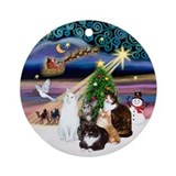 Xmas Magic & 5 Cats Ornament (Round)