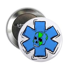"EMS Star Of Life Skull 2.25"" Button (100 pack)"