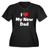 I Love My New Dad Women's Plus Size V-Neck Dark T-