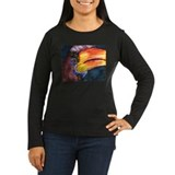 hornbills women's long sleeve dark t-shirt