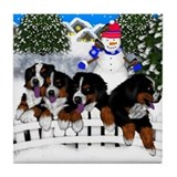 BERNESE MOUNTAIN DOGS SNOW Tile Coaster