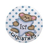 1st Christmas Star Baby Boy Ornament (Round)