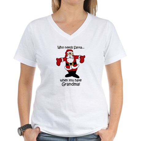 Who needs Santa Women's V-Neck T-Shirt