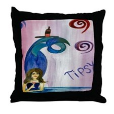 Tipsy Mermaid Throw Pillow