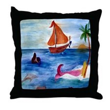 Island Hopping Mermaids Throw Pillow