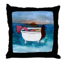 Bath tub Mermaid Throw Pillow