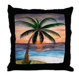 Sunset Palm Beach Throw Pillow