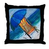 Sandy Paws Dog on the Beach Throw Pillow
