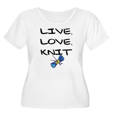 """""""Live, Love, Knit"""" Women's Plus Size Scoop Neck T-"""