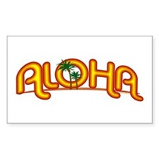 Aloha Retro Rectangle Decal