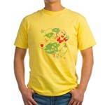 Modern Art Peace Collage Yellow T-Shirt