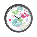 Modern Art Peace Collage Wall Clock