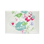 Modern Art Peace Collage Rectangle Magnet (100 pac