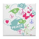 Modern Art Peace Collage Tile Coaster