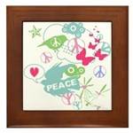 Modern Art Peace Collage Framed Tile