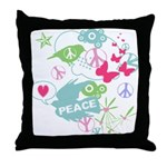 Modern Art Peace Collage Throw Pillow