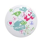 Modern Art Peace Collage Ornament (Round)