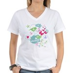 Modern Art Peace Collage Women's V-Neck T-Shirt