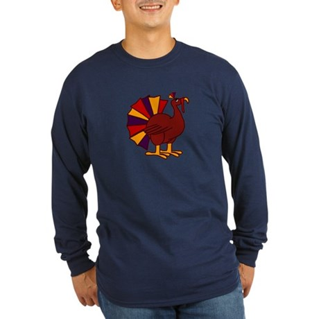 Funny Thanksgiving Turkey Long Sleeve Dark T-Shirt