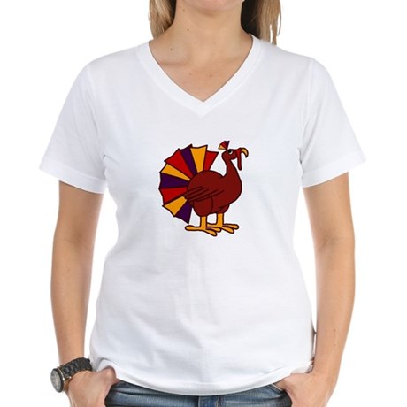 Funny Thanksgiving Turkey Women's V-Neck T-Shirt
