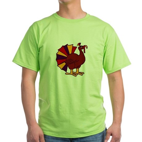 Funny Thanksgiving Turkey Green T-Shirt