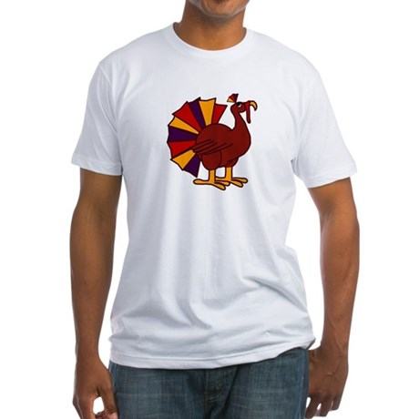 Funny Thanksgiving Turkey Fitted T-Shirt