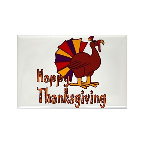 Cute Turkey Happy Thanksgiving Rectangle Magnet