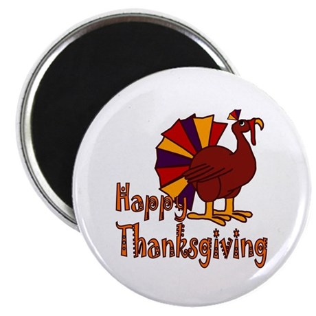 "Cute Turkey Happy Thanksgiving 2.25"" Magnet (100 p"