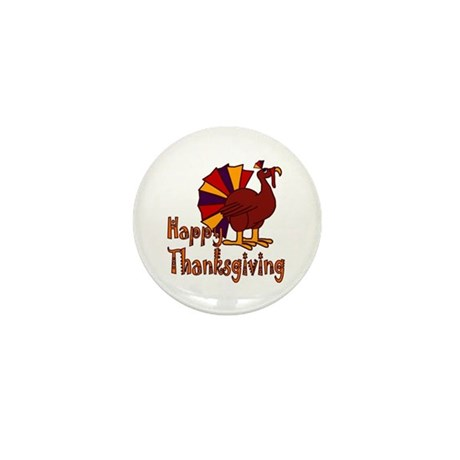 Cute Turkey Happy Thanksgiving Mini Button (10 pac