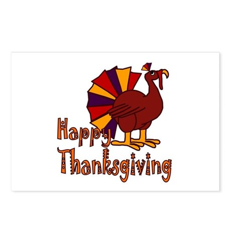 Cute Turkey Happy Thanksgiving Postcards (Package