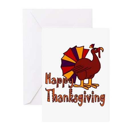 Cute Turkey Happy Thanksgiving Greeting Cards (Pk
