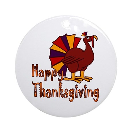 Cute Turkey Happy Thanksgiving Ornament (Round)