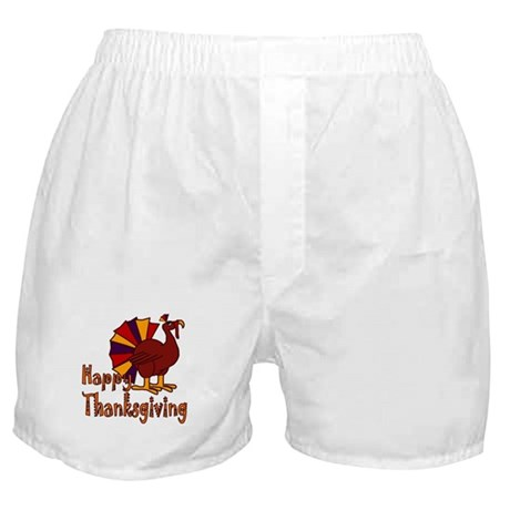 Cute Turkey Happy Thanksgiving Boxer Shorts